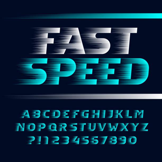 ilustraciones, imágenes clip art, dibujos animados e iconos de stock de letra de alfabeto de velocidad rápida. viento efecto cursiva letras, símbolos y números. - velocidad