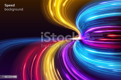 Fast speed lines curve for racing background. Abstract modern sport layout or dynamic, geometric race colorful poster. Night track turn or linear motion swing for competition. Racing advertise