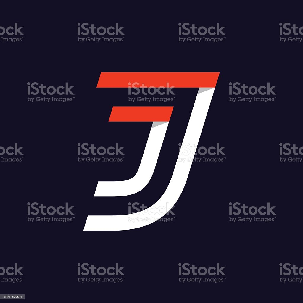 Fast Speed Two Lines Letter J Icon On Black. Vector Art Illustration