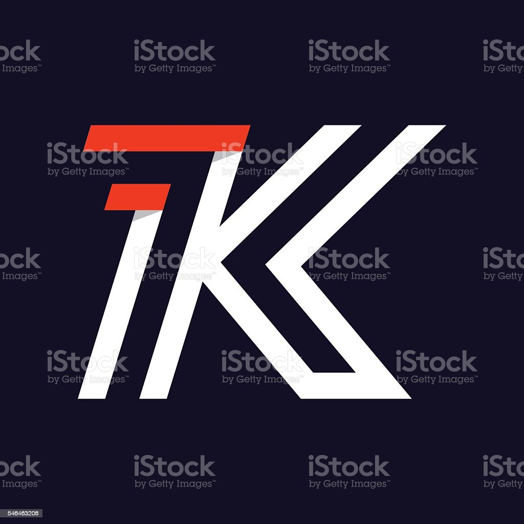 Fast speed two lines letter K icon on black. vector art illustration