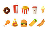 Fast sreet food lunch or breakfast meal set. Cheeseburger, french fries, fried crispy chicken leg, glazed donut, soft soda, coffee cup, ice cream, hot dog, pizza and doner kebab. Vector illustration