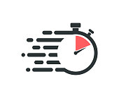 istock Fast stopwatch icon. Service delivery logo. 1195047669