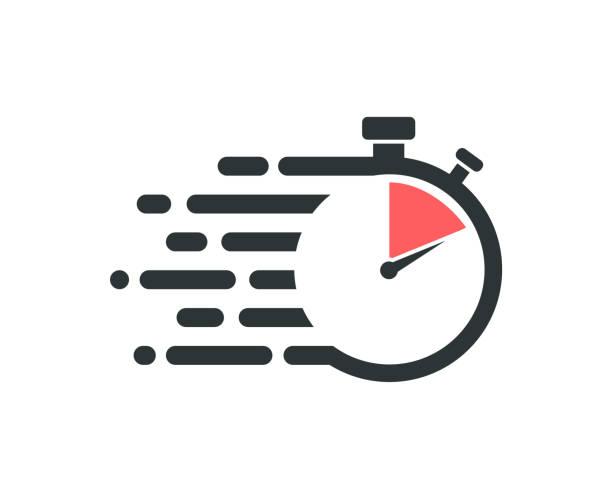 illustrations, cliparts, dessins animés et icônes de icône rapide de chronomètre. logo de prestation de services. - chronomètre