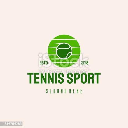 istock Fast Tennis Ball  hipster retro vintage vector template, tennis Sport 1316754285