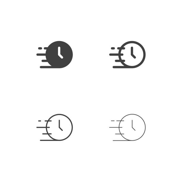 szybkie ikony czasu - multi series - czas stock illustrations