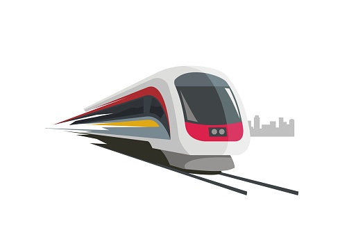 fast train simple illustration with city building silhouette background