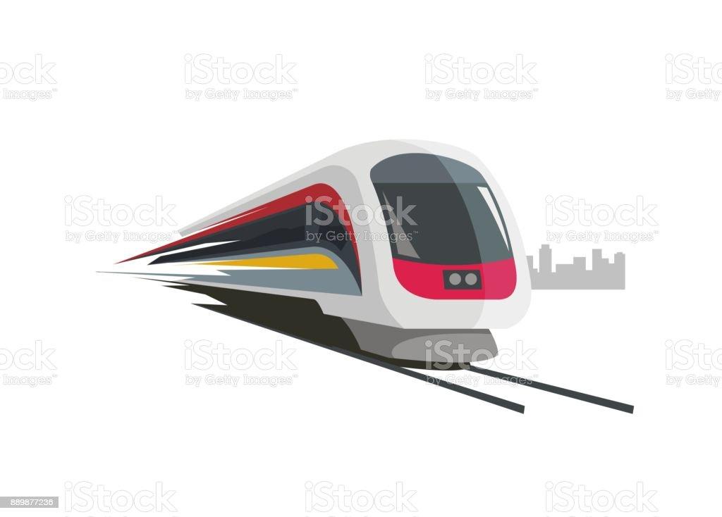 einfache Darstellung der Schnellzug mit Städtebau Silhouette Hintergrund – Vektorgrafik