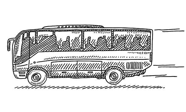 schnelle fahrt mit dem shuttlebus zeichnung - tour bus stock-grafiken, -clipart, -cartoons und -symbole