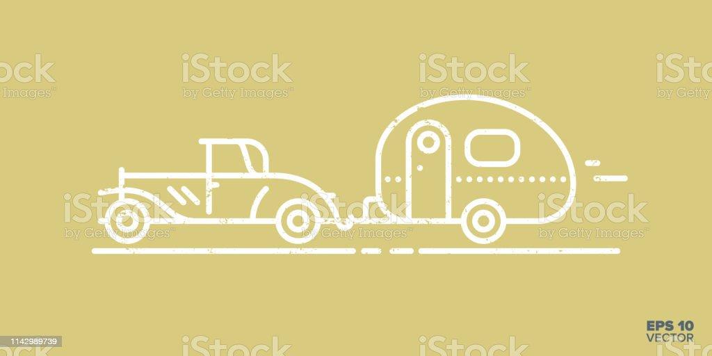 Vetores De Icone Rapido Dos Desenhos Animados Do Carro E Da Caravana Do Vintage E Mais Imagens De Acampar Istock
