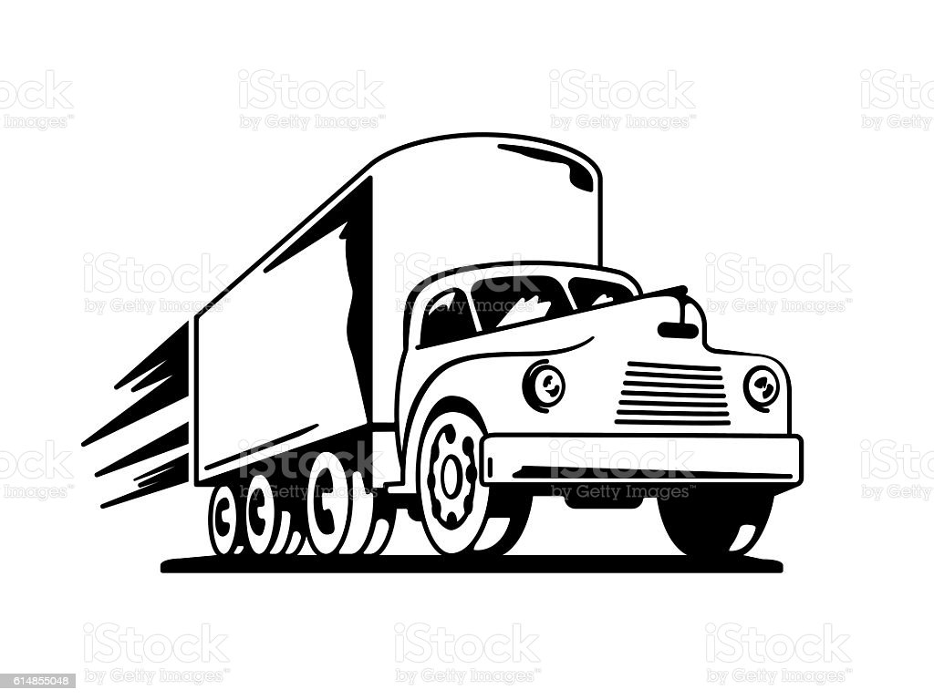 Fast Vintage Truck Silhouette Royalty Free Stock Vector Art Amp