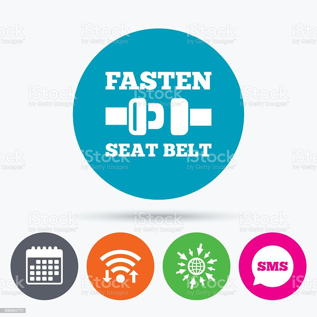 Fasten seat belt sign icon. Safety accident. vector art illustration
