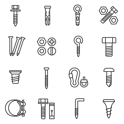 fastener icons set. Assortment of fasteners linear design. Line with editable stroke