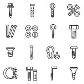 fastener icons set. Line with editable stroke