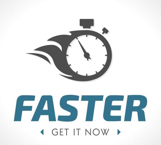 ilustraciones, imágenes clip art, dibujos animados e iconos de stock de logo más rápido - velocidad