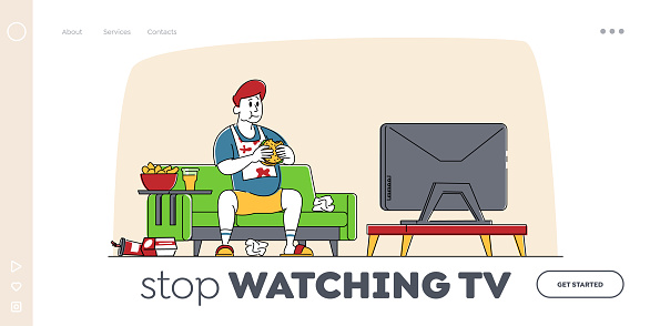 Fastfood Addiction, Unhealthy Eating Bad Habit, Obesity Landing Page Template. Fat Man Character Sitting on Couch at Home with Plenty of Fast Food Contain Oils Watch Tv. Linear Vector Illustration