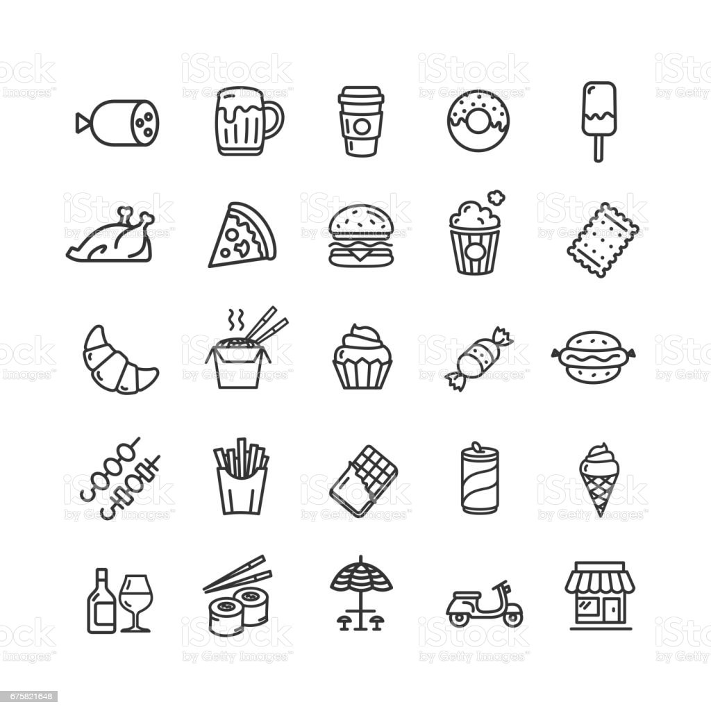Fastfood and Street Food Black Thin Line Icon Set. Vector vector art illustration