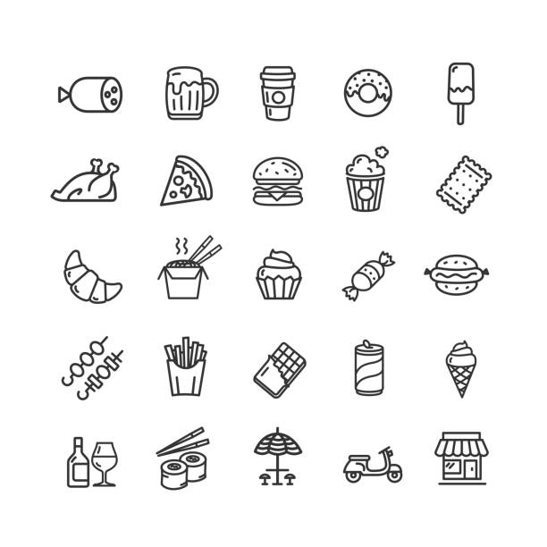 fastfood and street food black thin line icon set. vector - sushi stock illustrations