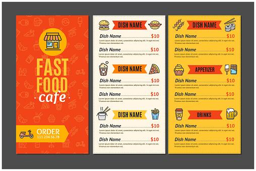 Fastfood and Street Food Menu Cafe. Vector