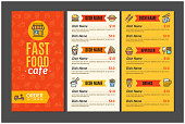 Fastfood and Street Food Menu Cafe Design Template Name Of Dish Order for Service Delivery. Vector illustration of Three page menus