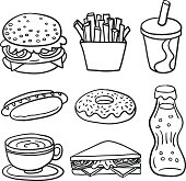 8 sketch drawing of fastfood in line art drawing.