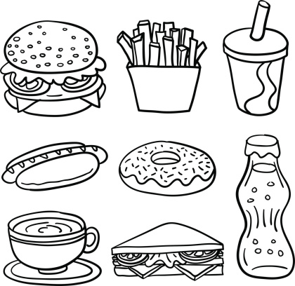 Fastfood collection in Black and White