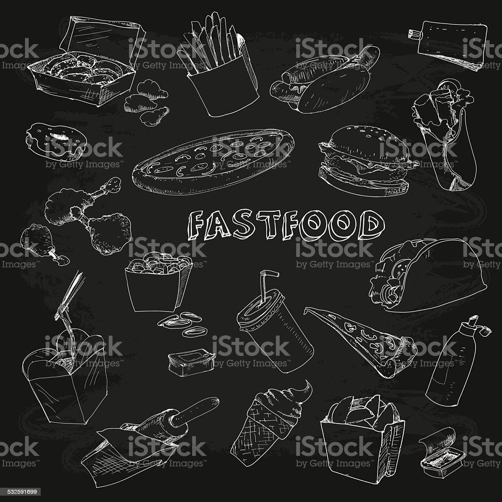 Fastfood collectionon chalkboard vector art illustration