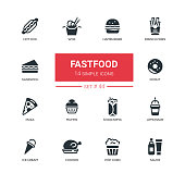 Fastfood concept - line design icons set