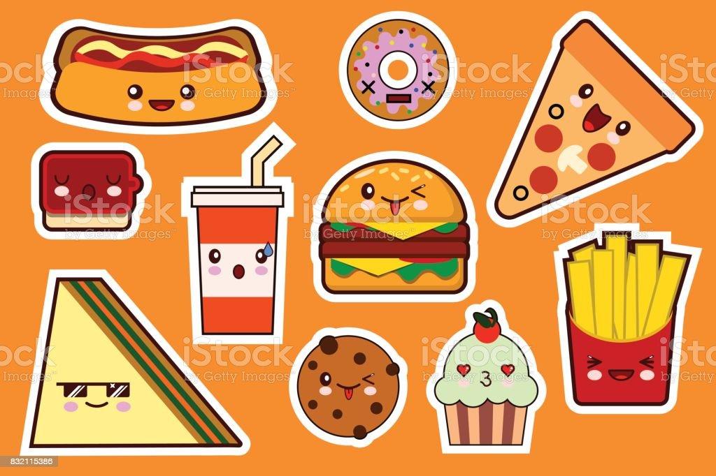 Mode De Fastfood Dessin Anime Kawaii Autocollants Illustrations Jeu