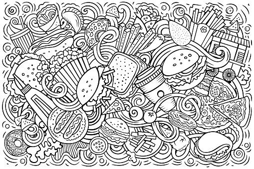 Fastfood hand drawn cartoon doodles illustration. Colorful vector banner