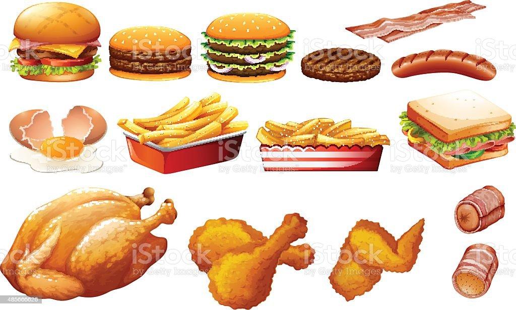 Fastfood in various types vector art illustration