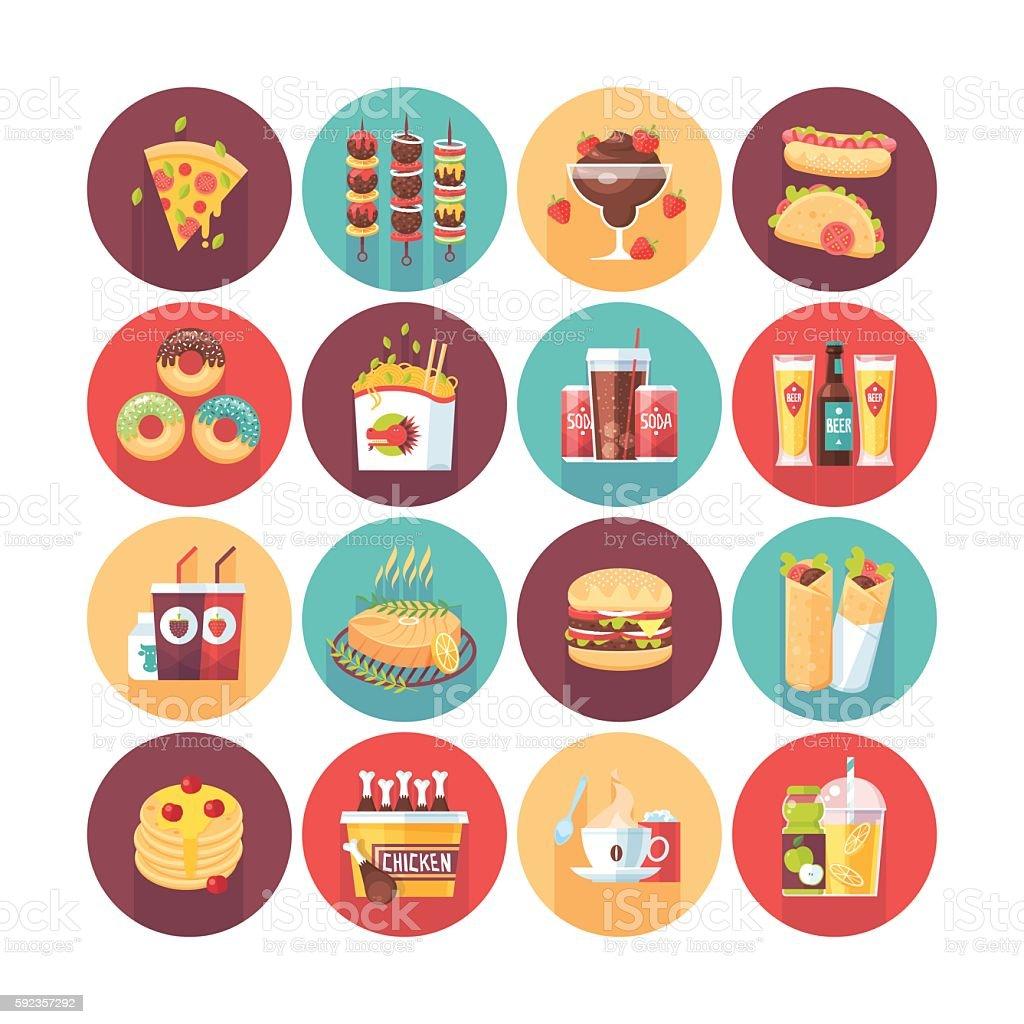 Fastfood, junk food, snack meal. vector art illustration