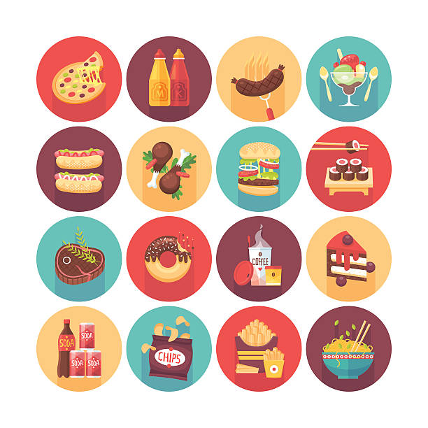fastfood, junk food, snack meal. - junk food stock illustrations, clip art, cartoons, & icons