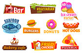Bar and restaurant, bakery cafe stickers, label of ice-cream, seafood and burger, donuts and hot-dog, fried chicken and pizza. Fastfood symbols, meat and candy, lunch logo, delicious food vector