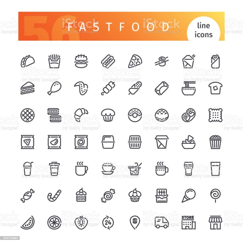 Ligne de Fastfood Icons Set - Illustration vectorielle