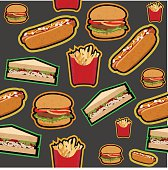 Fastfood (Hamburger, sandwich, french fries and hot dog with grunge texture retro style) pattern isolated on dark background, vector eps10 illustration.