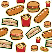 Fastfood pattern isolated on white background, vector eps10 illustration. Hamburger, sandwich, french fries and hot dog with grunge texture retro style.