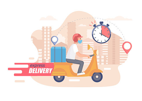 Fast,free and healthy scooter delivery concept.