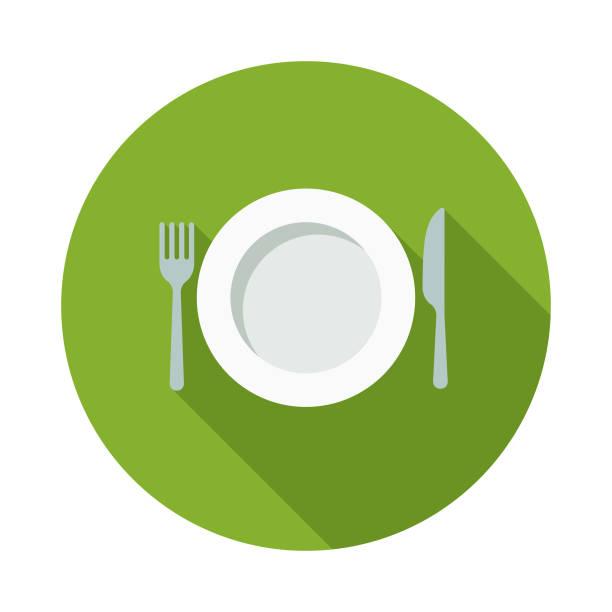 bildbanksillustrationer, clip art samt tecknat material och ikoner med fastande platt design naturmedicin ikonen med side skugga - empty plate