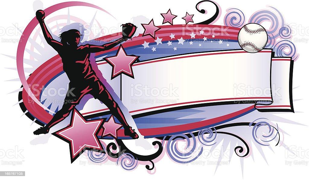 Fastpitch Grunge agitar - ilustración de arte vectorial