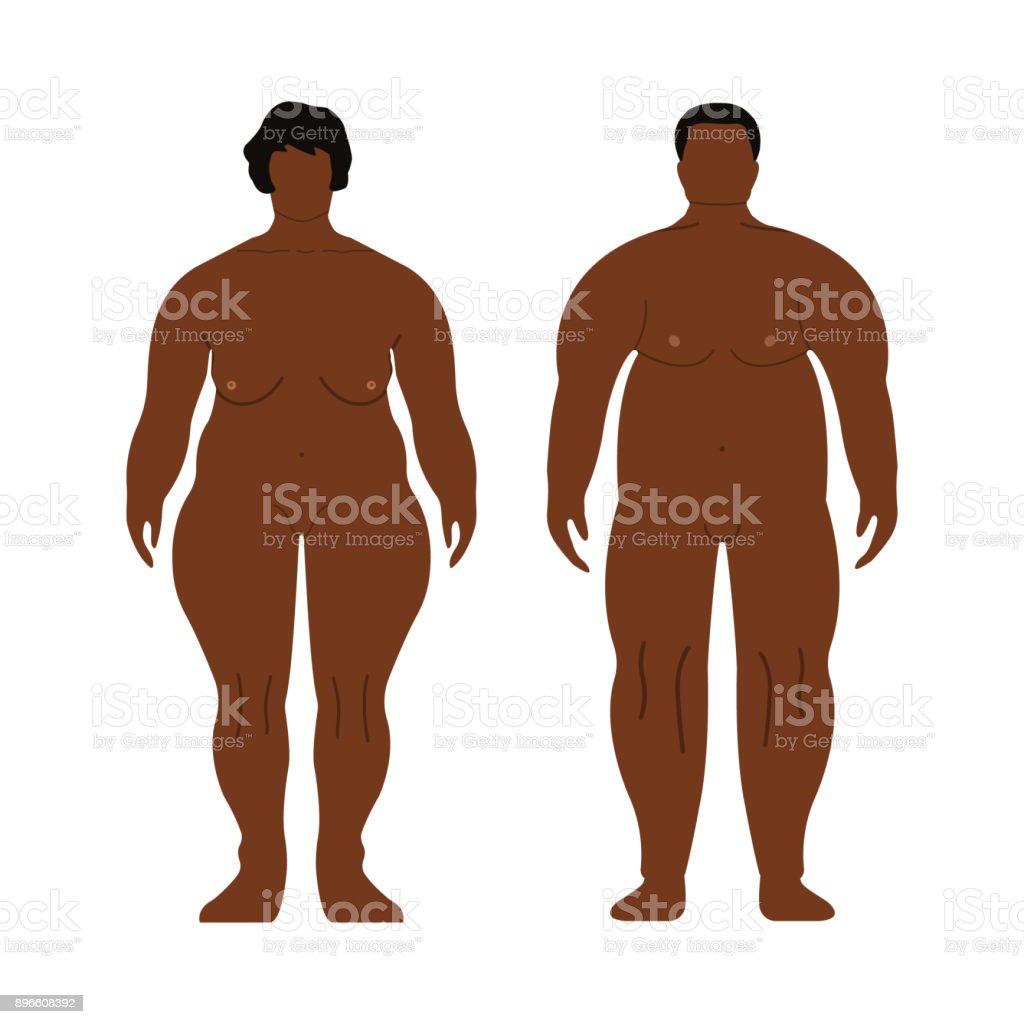 Dicke Afrikanische Männer Und Frauen Cartoon Umrissstil Menschlichen ...