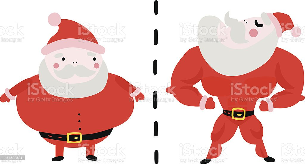 Fat and Fit Santa Makeover vector art illustration