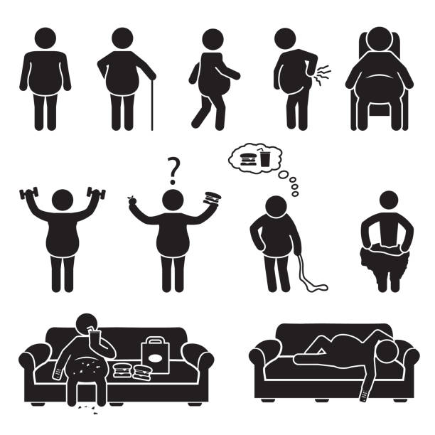 Fat and obese people icon set. Vector. vector art illustration