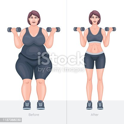 521792745 istock photo Fat and slim girl before and after losing weight 1137068230
