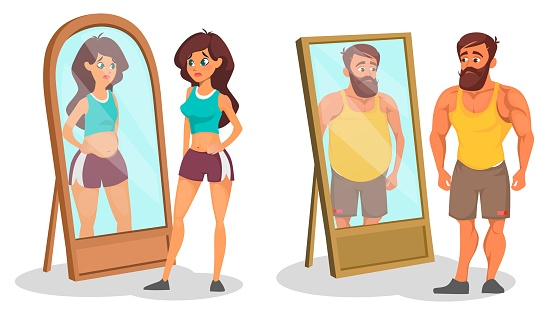 Fat and slim people with reflection in mirrors, bigorexia or muscle dysmorphia
