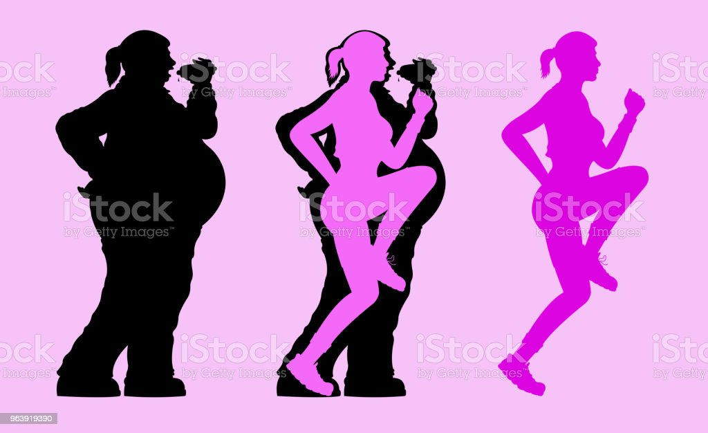 Fat and Slim Woman Silhouette - Royalty-free Aerobics stock vector