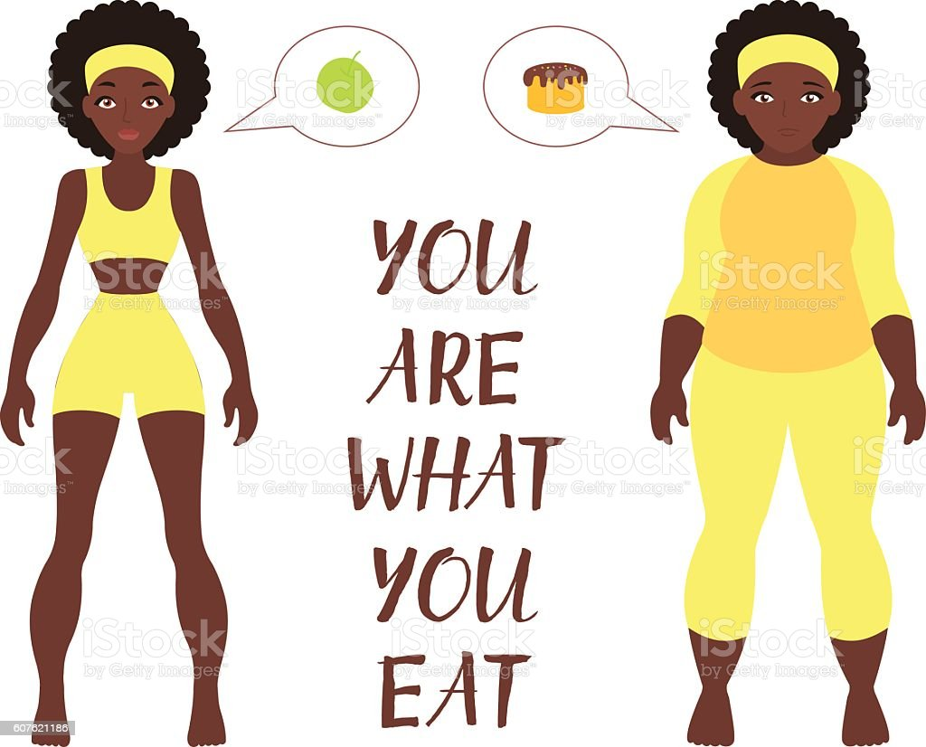 Fat and thin woman, vector flat illustration. Weight loss concept Fat and thin woman, vector flat illustration. Weight loss concept. Diet. Choice of girls: being fat or slim.  African American ladies. Adult stock vector