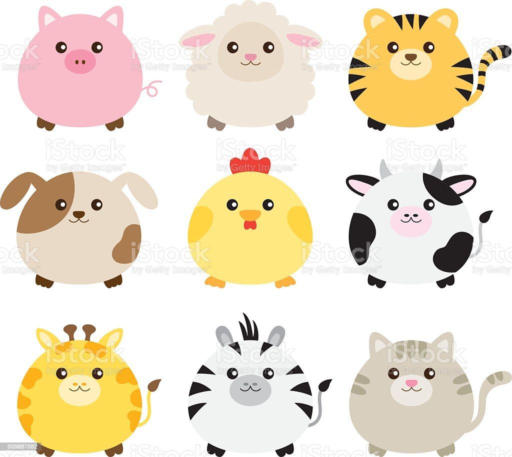 Grasa conjunto de Animal - ilustración de arte vectorial