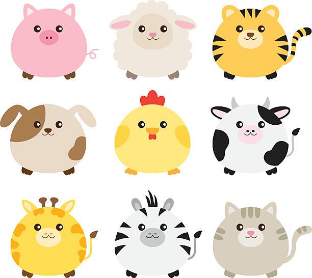 Fat Animal Set Vector illustration of fat animals including pig, sheep, tiger, dog, chicken, cow, giraffe, zebra and cat. chicken bird stock illustrations