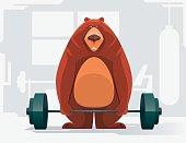 fat bear lifting barbell