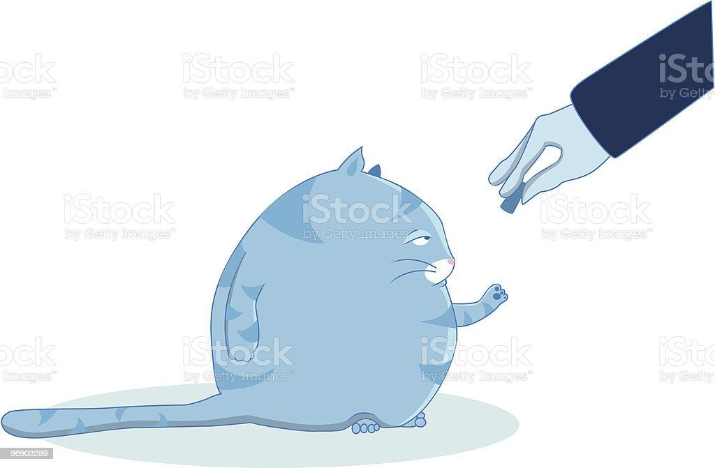 fat blue cat vector art illustration